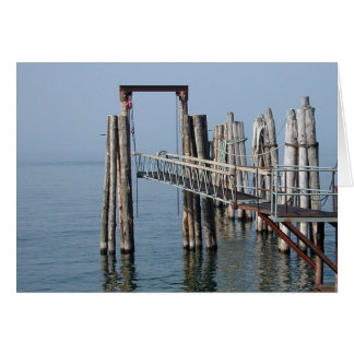 A dock in the fog card