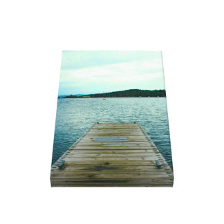 A dock on Lake Superior in Grand Marais, Minnesota Stretched Canvas Print