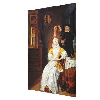 A Doctor Visiting a Young Lady in a Bedroom (oil o Canvas Print