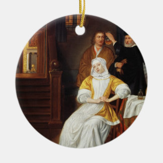 A Doctor Visiting a Young Lady in a Bedroom (oil o Christmas Ornament