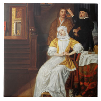 A Doctor Visiting a Young Lady in a Bedroom (oil o Large Square Tile