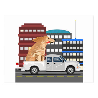A dog and a truck. postcards