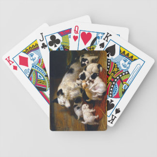 A dog and her puppies bicycle playing cards