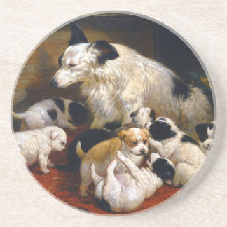 A dog and her puppies coaster