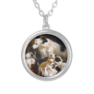 A dog and her puppies silver plated necklace