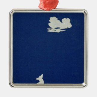 A Dog Howling at the Moon Silver-Colored Square Decoration