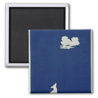 A Dog Howling at the Moon Square Magnet