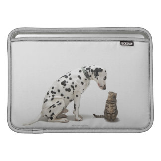 A dog looking at a cat MacBook sleeve