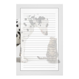 A dog looking at a cat stationery