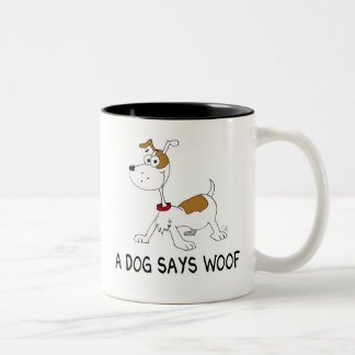 A Dog Says Woof Two-Tone Coffee Mug