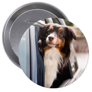 A Dog With Her Head Out of a Car Window 10 Cm Round Badge