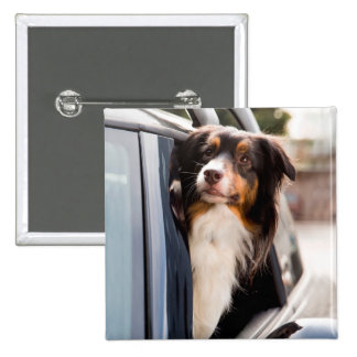 A Dog With Her Head Out of a Car Window 15 Cm Square Badge