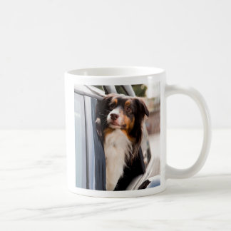 A Dog With Her Head Out of a Car Window Basic White Mug