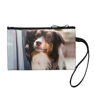 A Dog With Her Head Out of a Car Window Coin Wallet
