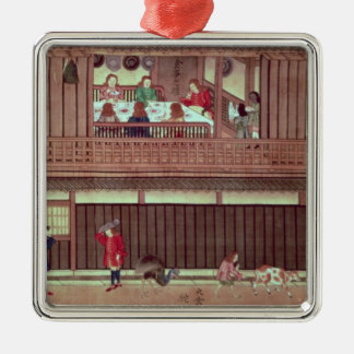 A domestic scene   of a scroll) christmas ornament