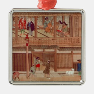 A domestic scene, scroll christmas ornament