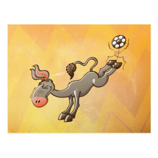 A Donkey has the most Powerful Kick of Soccer Postcard