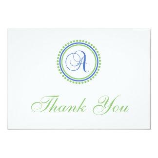 A Dot Circle Monogam Thank You Cards (Blue / Mint) Announcements