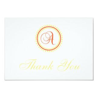 A Dot Circle Monogam Thank You (Orange / Yellow) 9 Cm X 13 Cm Invitation Card