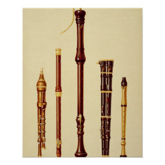 A double flageolet, a German flute, a bass recorde Poster