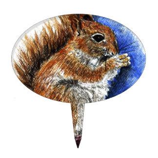 A Douglas Squirrel, watercolor pencil Cake Pick