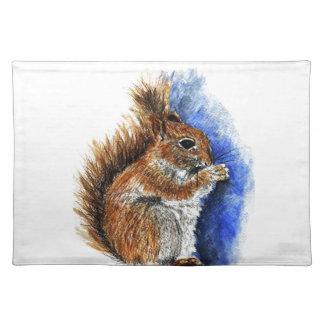 A Douglas Squirrel, watercolor pencil Place Mat
