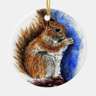 A Douglas Squirrel, watercolor pencil Round Ceramic Decoration