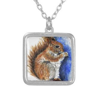 A Douglas Squirrel watercolor pencil Pendant