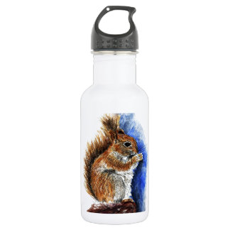 A Douglas Squirrel, watercolor pencil 532 Ml Water Bottle