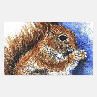 A Douglas Squirrel, watercolor pencil Rectangular Sticker