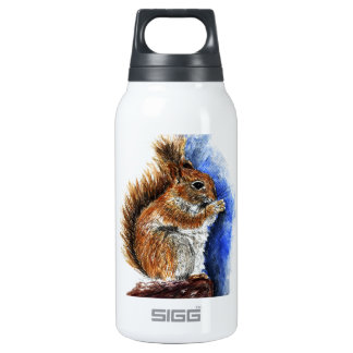 A Douglas Squirrel, watercolor pencil 10 Oz Insulated SIGG Thermos Water Bottle