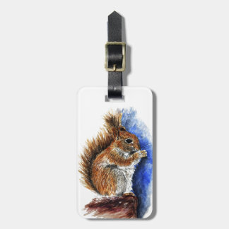A Douglas Squirrel watercolor pencil Tags For Bags