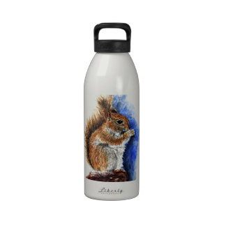 A Douglas Squirrel watercolor pencil Water Bottle
