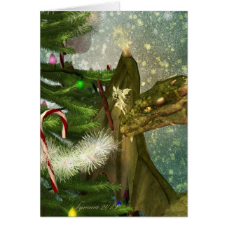 A Dragon and Fairies Christmas Card