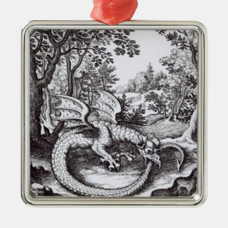A Dragon in the Forest Silver-Colored Square Decoration