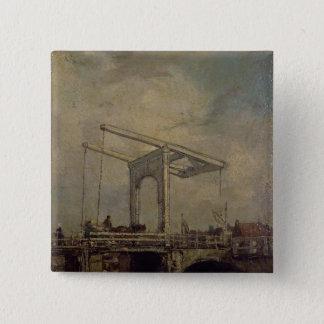A Drawbridge in a Dutch Town, 1875 15 Cm Square Badge