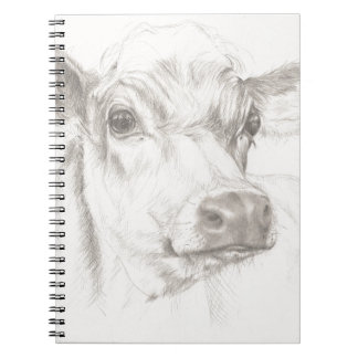 A drawing of a young cow notebook