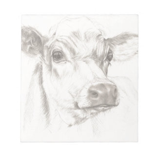 A drawing of a young cow notepad