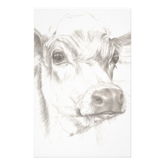 A drawing of a young cow stationery