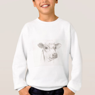 A drawing of a young cow sweatshirt