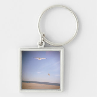 a dreamy image of seagulls flying at the beach key ring