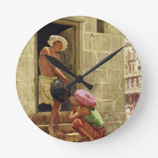 A Drink on the Way, 1876 (w/c on paper) Round Clock