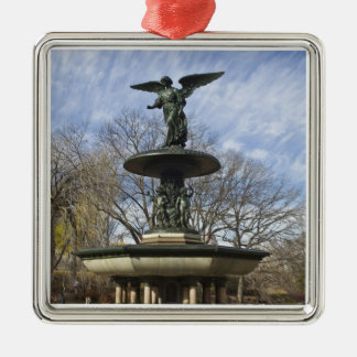 A dry winter Bethesda Fountain in Central Park Silver-Colored Square Decoration