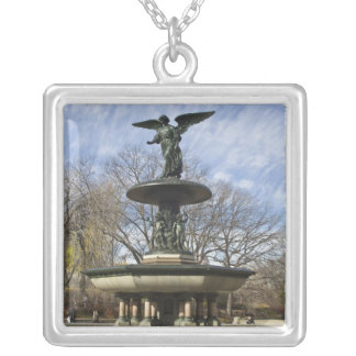 A dry winter Bethesda Fountain in Central Park Silver Plated Necklace