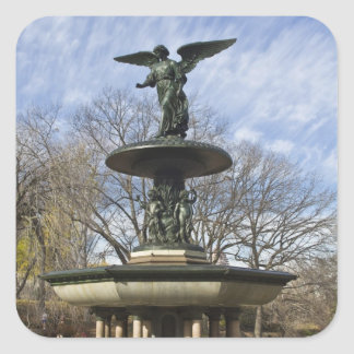 A dry winter Bethesda Fountain in Central Park Square Sticker