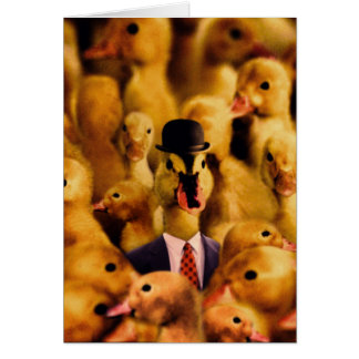 A Duck In A Bowler Hat And Suit And Tie Card