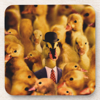 A Duck In A Bowler Hat And Suit And Tie Coaster