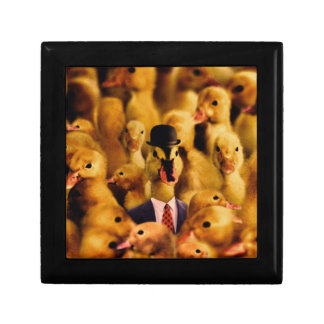 A Duck In A Bowler Hat And Suit And Tie Small Square Gift Box