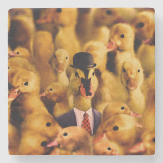 A Duck In A Bowler Hat And Suit And Tie Stone Coaster