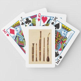 A dulcian, an oboe, a bassoon, an oboe da caccia a bicycle playing cards